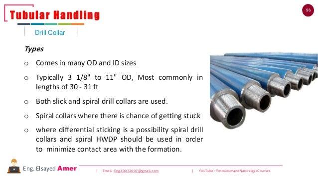 96 | Email : Eng20072007@gmail.com | YouTube : PetroleumandNaturalgasCoursesEng. Elsayed Amer Drill Collar Tubular Handlin...