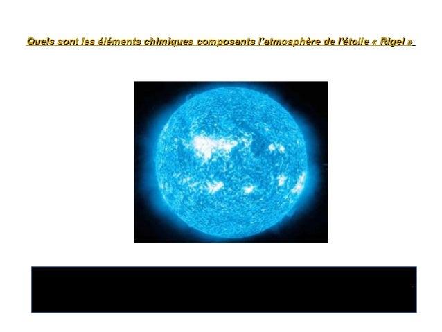 Quels sont les éléments chimiques composants l'atmosphère de l'étoile «Rigel »Quels sont les éléments chimiques composant...