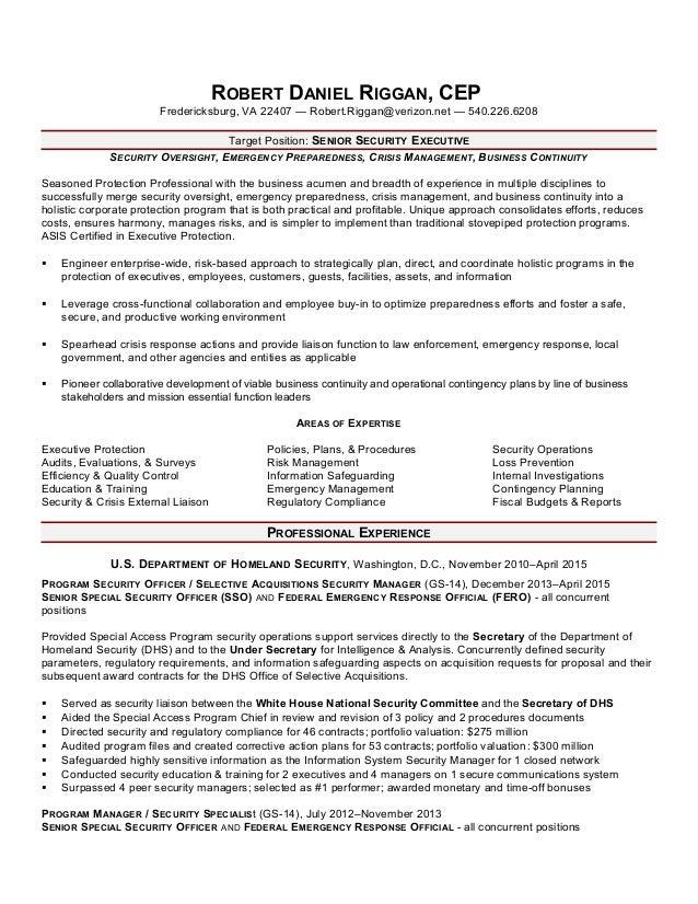 riggan sse resume june 2016 - Program Security Officer Sample Resume