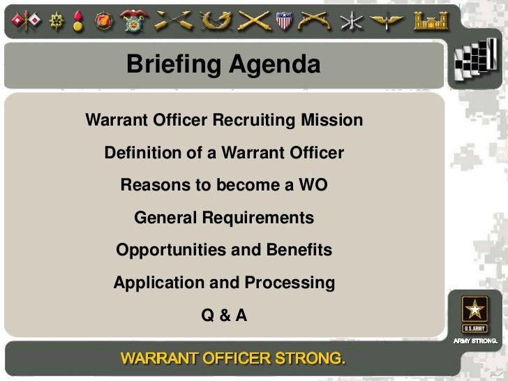 ... 2. Briefing Agendau003cbr /u003eWarrant Officer Recruiting ...