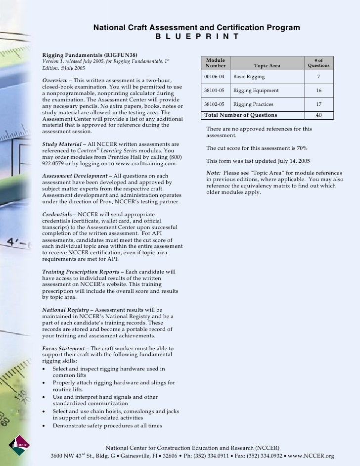 National Craft Assessment and Certification Program                                        B L U E P R I N TRigging Fundam...