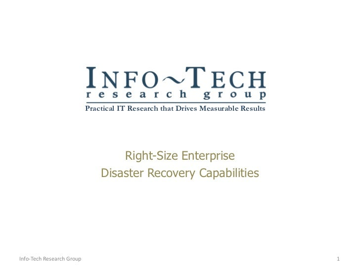 Right Size Enterprise Disaster Recovery Plans