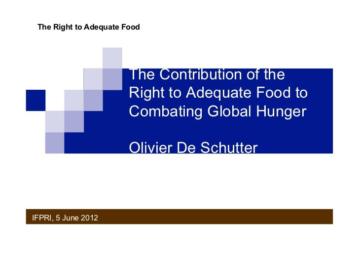 The Right to Adequate Food                        The Contribution of the                        Right to Adequate Food to...