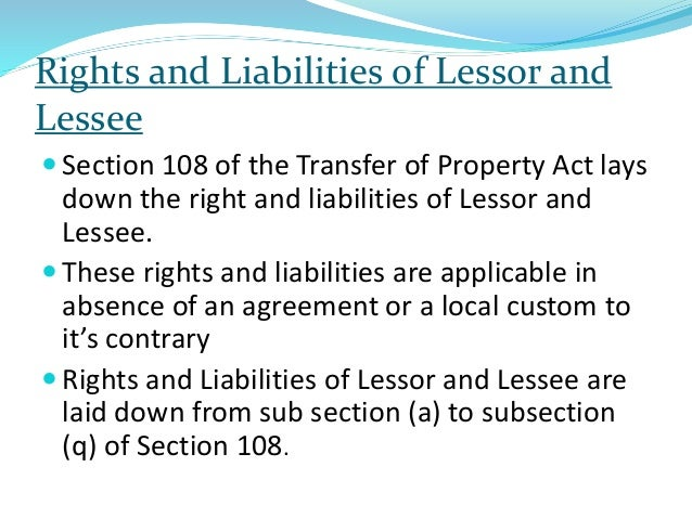 Right And Liabilities Of Lessor Lessee Under Transfer Of Property A