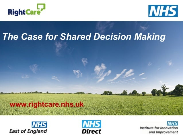 The Case for Shared Decision Making www.rightcare.nhs.uk