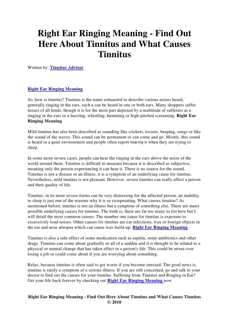 Right Ear Ringing Meaning - Find Out Here About Tinnitus and What Cau…