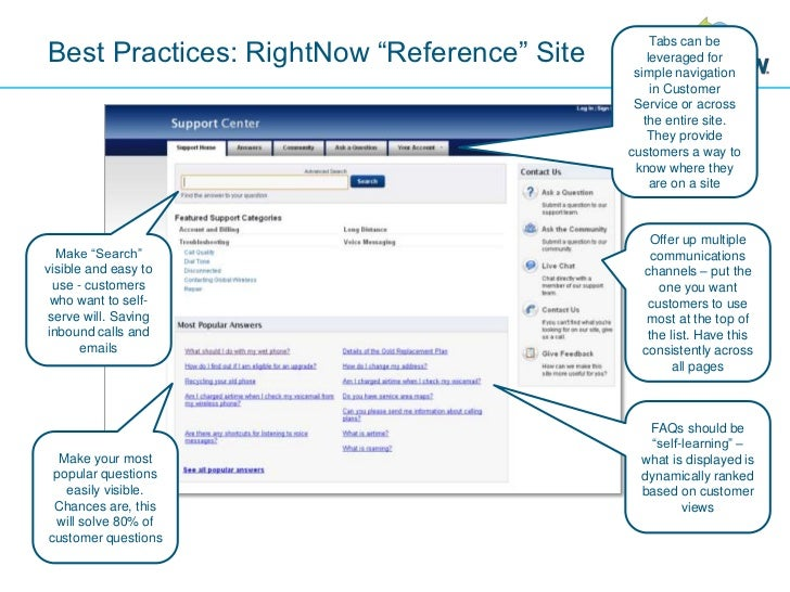 """Best Practices: RightNow """"Reference"""" Site<br />Tabs can be leveraged for simple navigation in Customer Service or across t..."""