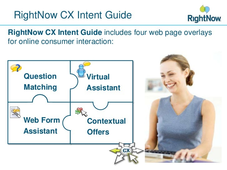 RightNow CX Intent Guide<br />RightNow CX Intent Guide includes four web page overlays for online consumer interaction:<br...