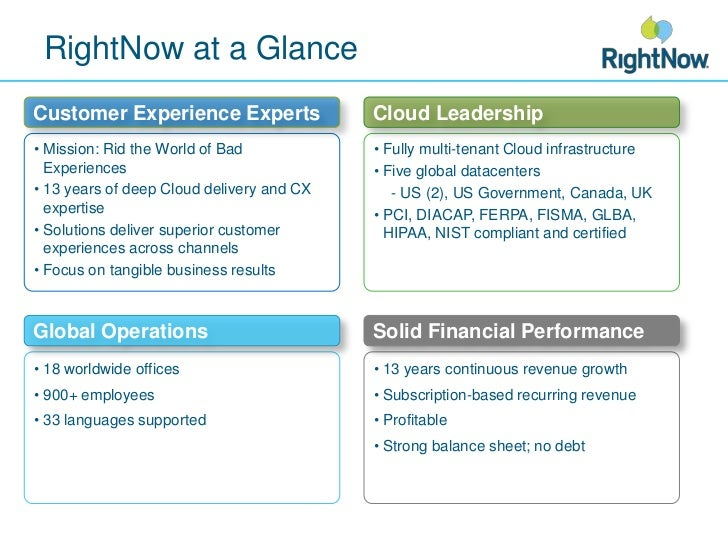 RightNow at a Glance<br />Customer Experience Experts<br />Cloud Leadership<br /><ul><li>Mission: Rid the World of Bad Exp...