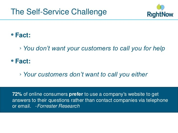 The Self-Service Challenge<br />Fact:<br />You don't want your customers to call you for help<br />Fact:<br />Your custome...