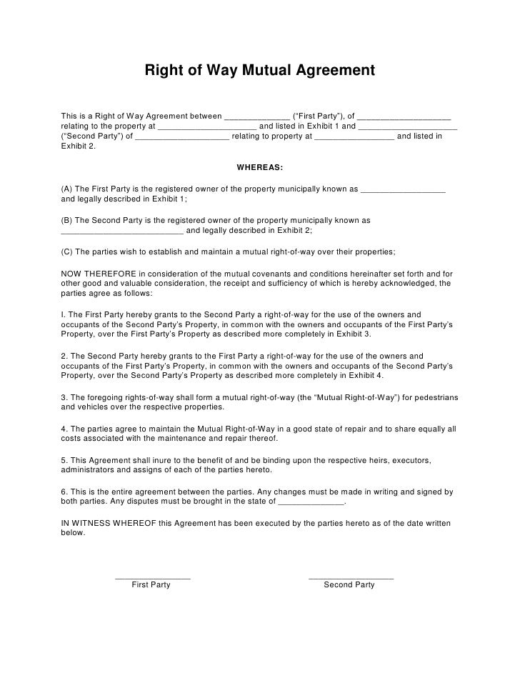 Right Of Way Mutual Agreementu003cbr /u003e U003cbr /u003eThis Is A ... Ideas Mutual Agreement Template