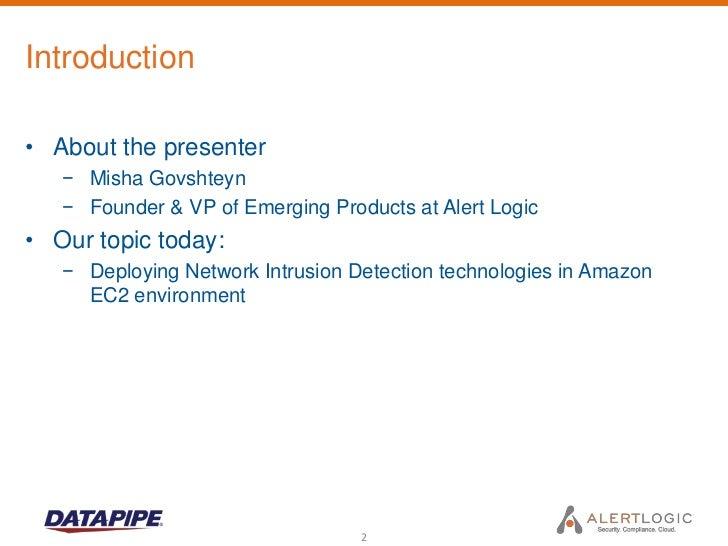 Cloud Security Topics: Network Intrusion Detection for Amazon EC2 Slide 2
