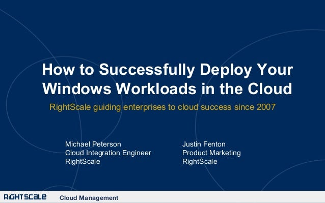 How to Successfully Deploy Your Windows Workloads in the Cloud RightScale guiding enterprises to cloud success since 2007 ...