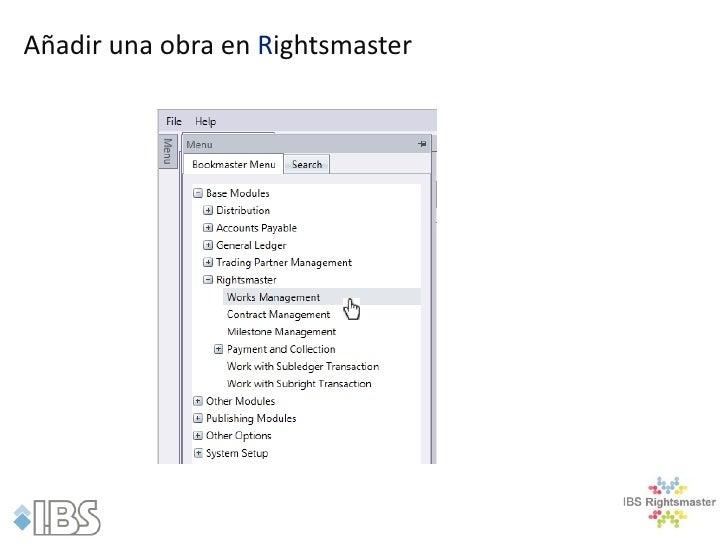Añadir una obra en Rightsmaster
