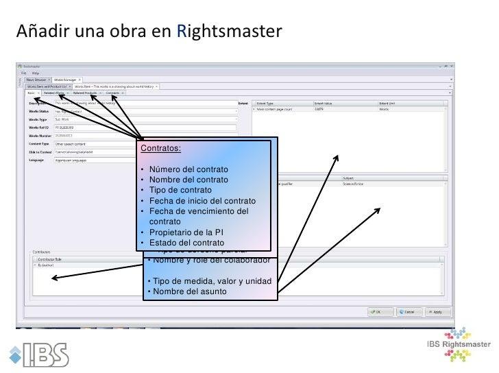 Añadir una obra en Rightsmaster              Obras relacionadas :              Contratos: relacionados:               Prod...