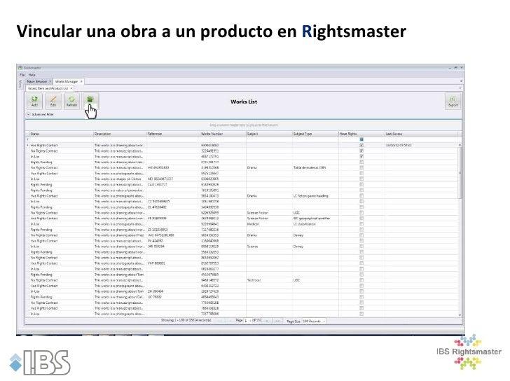 Vincular una obra a un producto en Rightsmaster