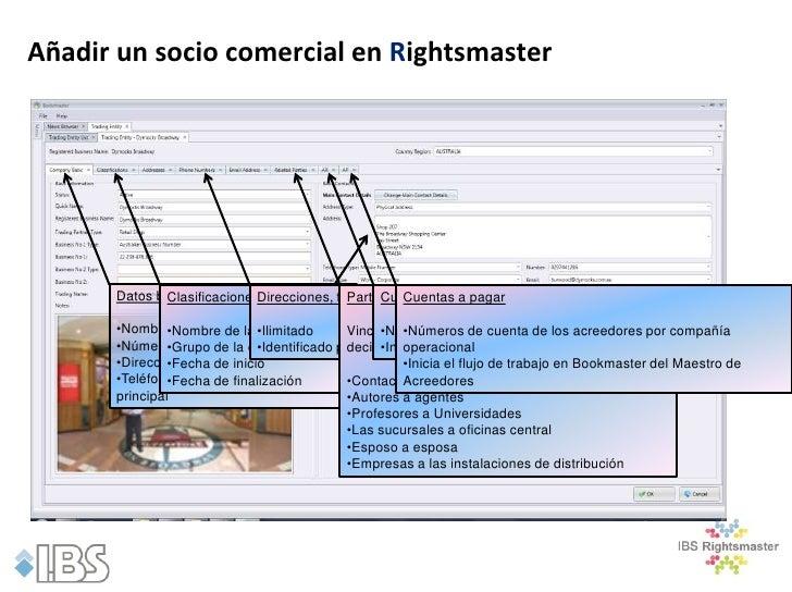 Añadir un socio comercial en Rightsmaster      Datos básicos:             Clasificaciones:                            Dire...