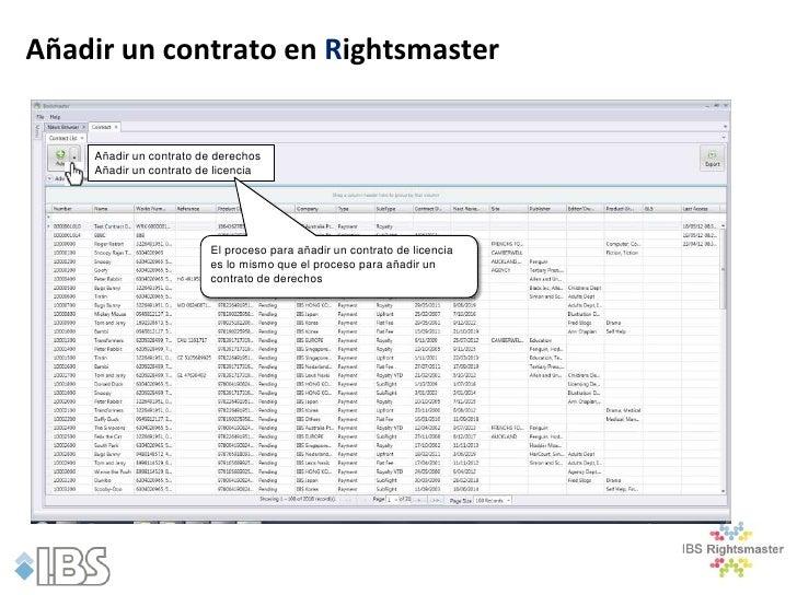 Añadir un contrato en Rightsmaster    Añadir un contrato de derechos    Añadir un contrato de licencia                    ...