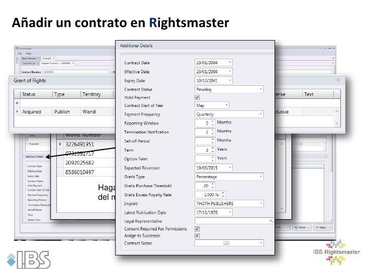 Añadir un contrato en Rightsmaster             Haga clic para seleccionar las obras             del módulo de Gestión de O...