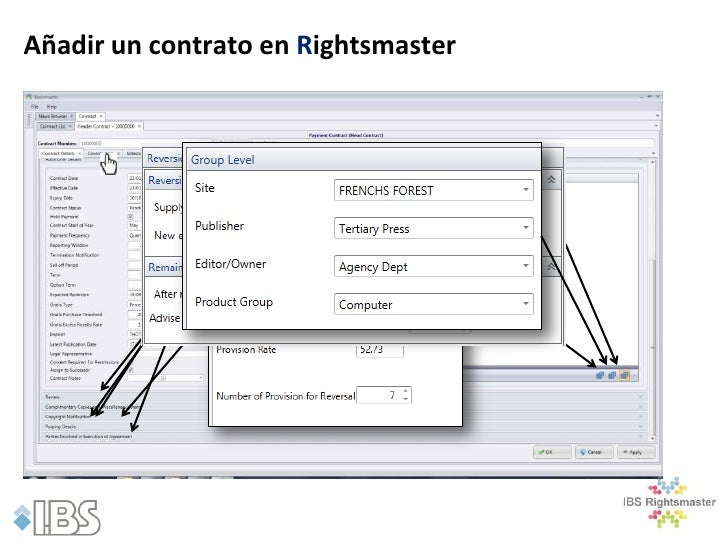 Añadir un contrato en Rightsmaster              Partes en el complementarias y Artículos Diversos               Las copias...