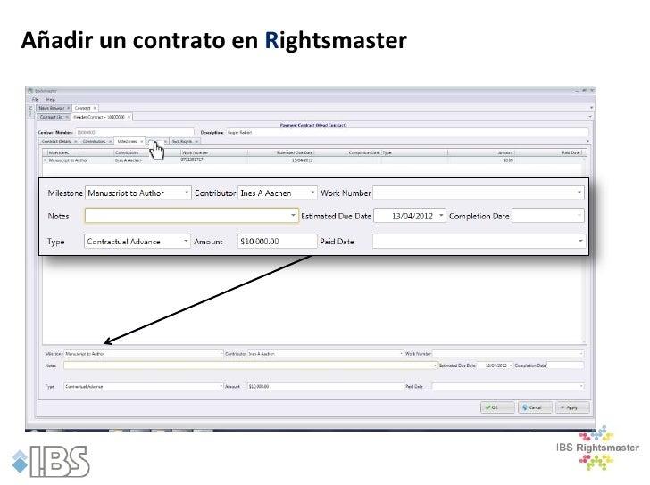 Añadir un contrato en Rightsmaster