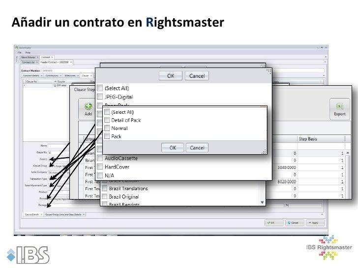 Añadir un contrato en Rightsmaster              Producto              •Seleccione el producto de la lista de productos en ...