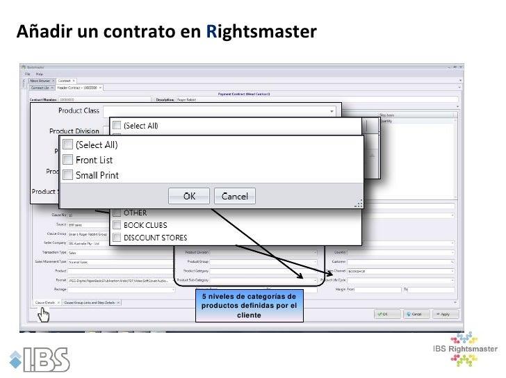 Añadir un contrato en Rightsmaster                    5 niveles de categorías de                    productos definidas po...