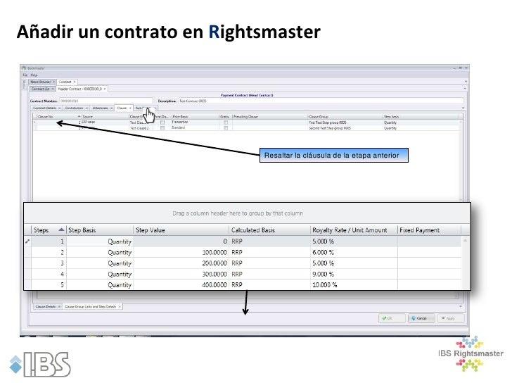 Añadir un contrato en Rightsmaster                           Resaltar la cláusula de la etapa anterior