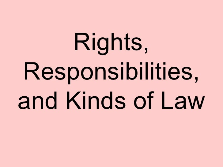 Rights, Responsibilities, and Kinds of Law