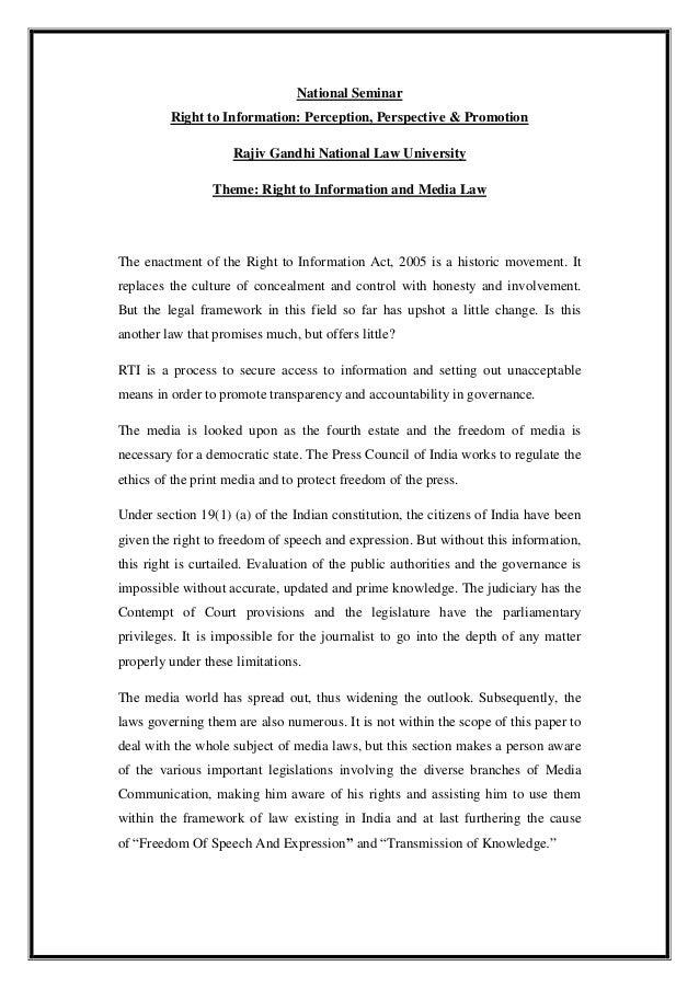 National Seminar         Right to Information: Perception, Perspective & Promotion                    Rajiv Gandhi Nationa...