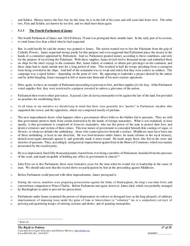 The Right To Petition Form 05049