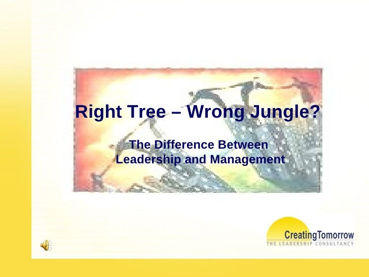 Right Tree – Wrong Jungle?  The Difference Between  Leadership and Management