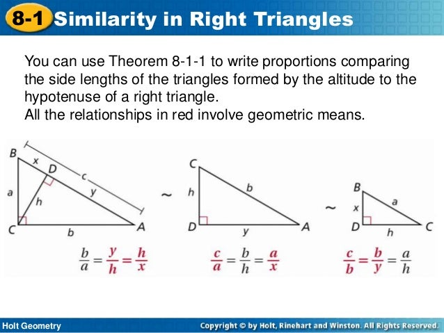 1 Similarity in Right Triangles Challenge WS