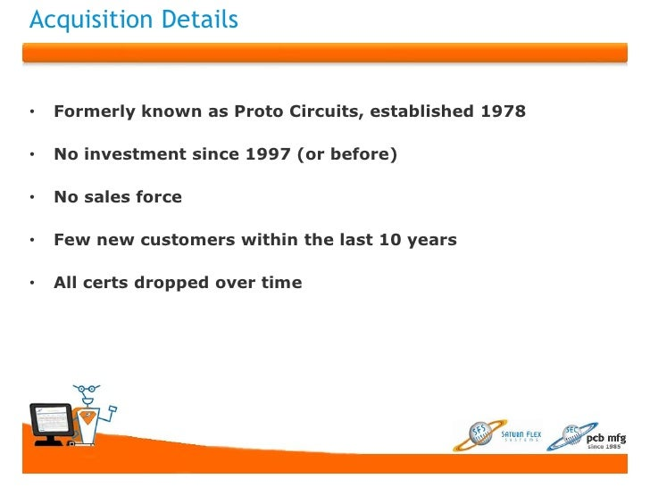 Acquisition Details•   Formerly known as Proto Circuits, established 1978•   No investment since 1997 (or before)•   No sa...