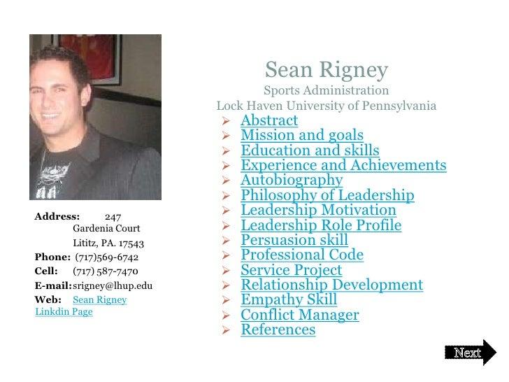 Sean Rigney                                         Sports Administration                                  Lock Haven Univ...