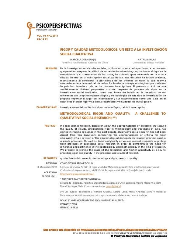 VOL. 10, Nº 2, 2011 pp. 12-34  RIGOR Y CALIDAD METODOLÓGICOS: UN RETO A LA INVESTIGACIÓN SOCIAL CUALITATIVA MARCELA CORNEJ...