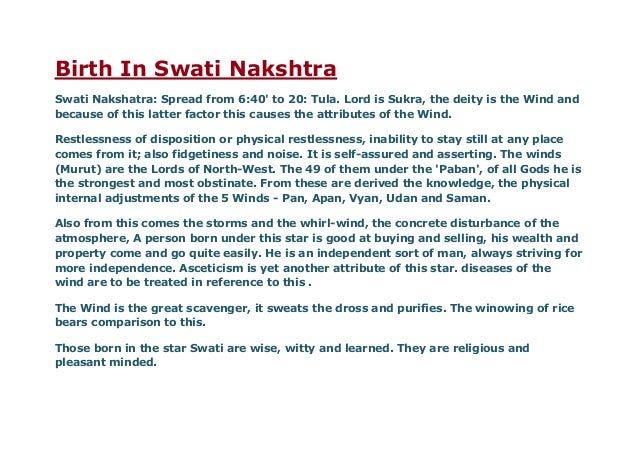 Rig vedic details for some nakshatra like swati