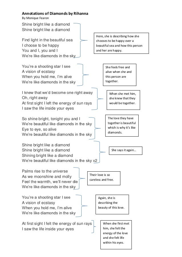 Lyric love rihanna lyrics : Rihanna diamond lyrics (annotations)