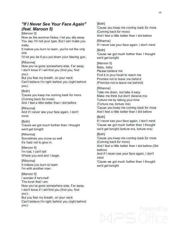 Lyric maroon five love somebody lyrics : RIHANNA HIT LYRICS