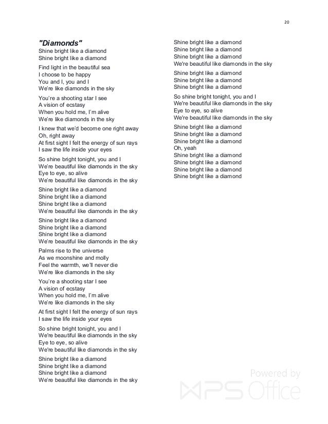 Diamonds rihanna with lyrics