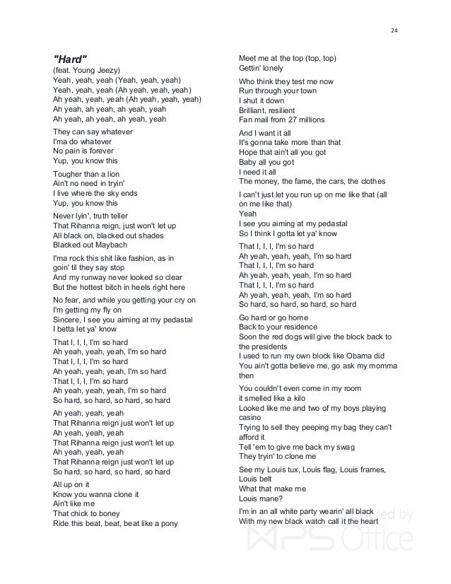 RIHANNA - RUDE BOY LYRICS
