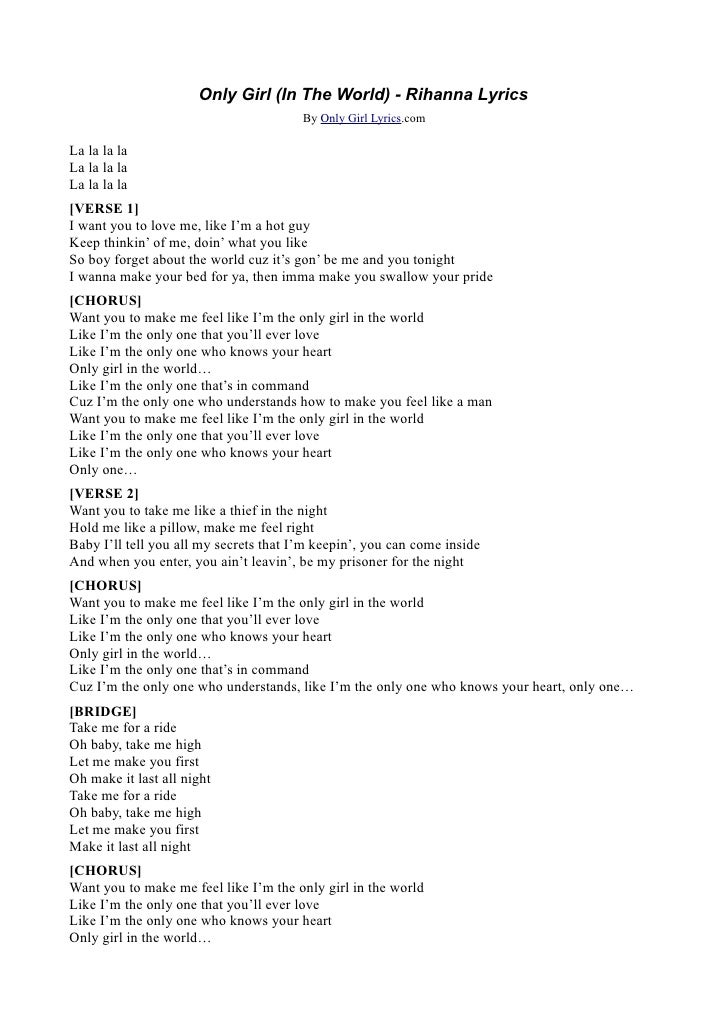 Lyric love rihanna lyrics : Rihanna - Only Girl Lyrics