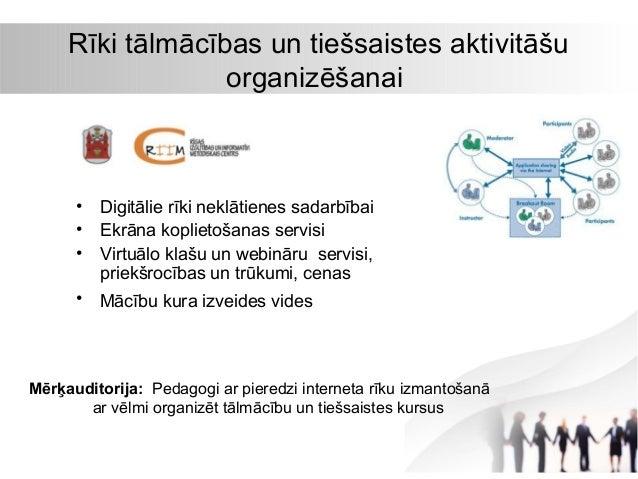 Rīki tālmācības un tiešsaistes aktivitāšu organizēšanai  • • •  Digitālie rīki neklātienes sadarbībai Ekrāna koplietošanas...