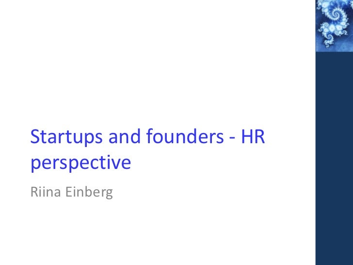 Startups and founders - HRperspectiveRiina Einberg
