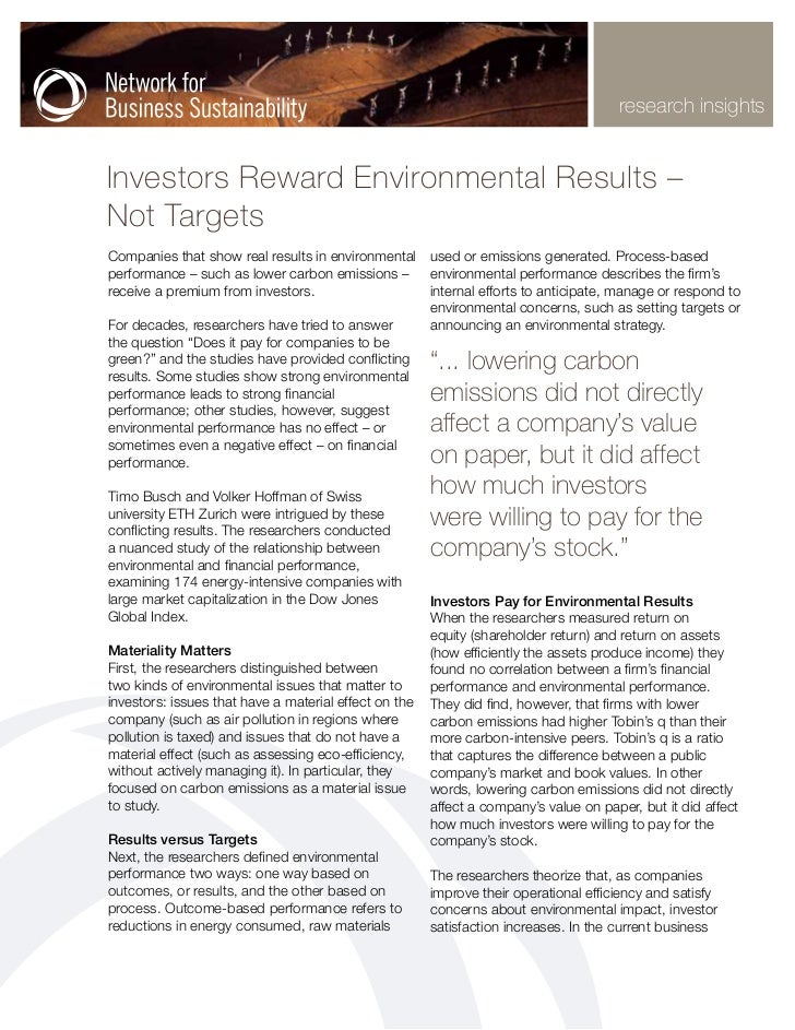 research insightsInvestors Reward Environmental Results –Not TargetsCompanies that show real results in environmental used...