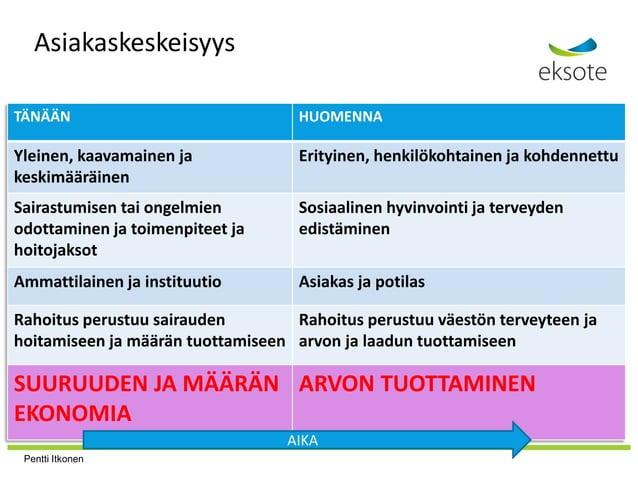 Asiakaskeskeisyys TÄNÄÄN HUOMENNA Yleinen, kaavamainen ja keskimääräinen Erityinen, henkilökohtainen ja kohdennettu Sairas...