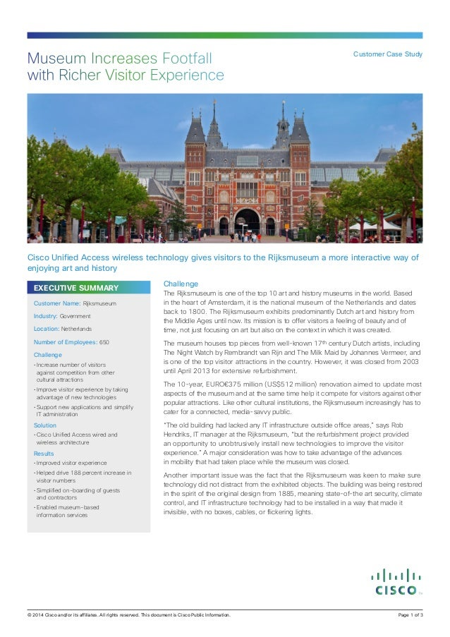 Museum Increases Footfall with Richer Visitor Experience  Customer Case Study  Cisco Unified Access wireless technology gi...