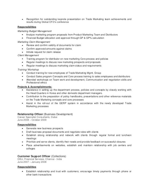 Sample Customer Service Resume Example