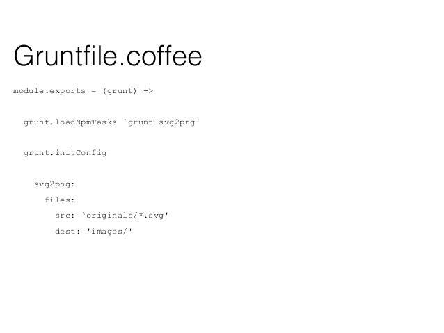 module.exports = (grunt) -> grunt.loadNpmTasks 'grunt-spritesmith' grunt.initConfig sprite: src: 'originals/icons/*.png', ...