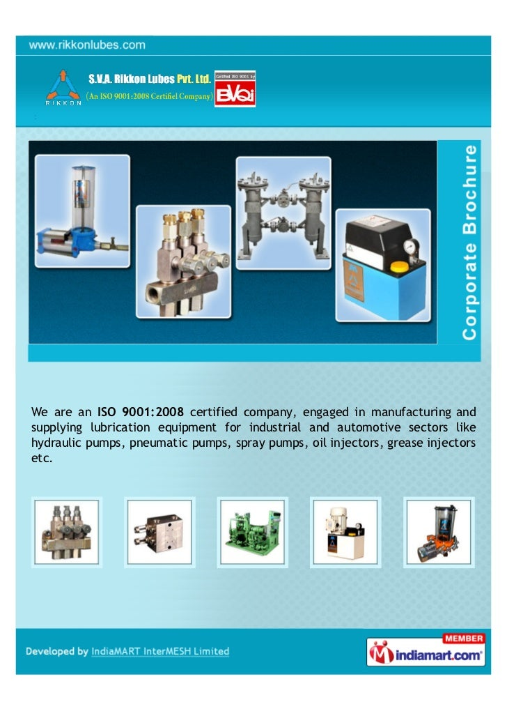 We are an ISO 9001:2008 certified company, engaged in manufacturing andsupplying lubrication equipment for industrial and ...
